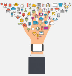 watch phone and cloud technology with social vector image vector image