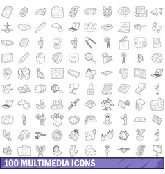 100 multimedia icons set outline style vector