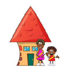 african black boy cartoon with mother and house vector image