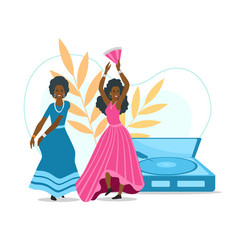afro curly women with fans dancing flamenco vector image