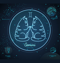 Astrology neon gemini zodiac sign vector