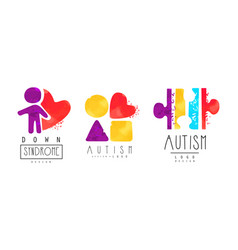 Autism and down syndrome bright logo design vector
