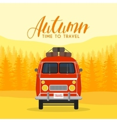 Autumn time family travel and trip The family car vector
