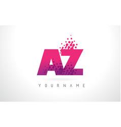 Az a z letter logo with pink purple color vector
