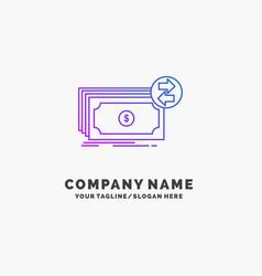 banknotes cash dollars flow money purple business vector image