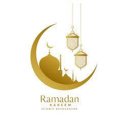 Beautiful golden moon and mosque ramadan kareem vector