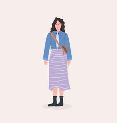 beautiful woman standing pose female cartoon vector image