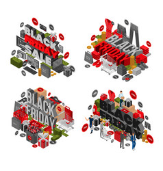 black friday banner set isometric style vector image