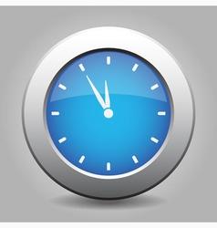 Blue metal button - last minute clock vector