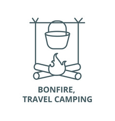 bonfire travel camping line icon bonfire vector image