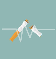 broken cigarette flat icon design on white vector image