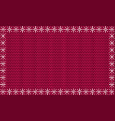 burgundy festive knitted background framed with vector image