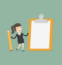 businesswoman holding a clipboard with blank vector image