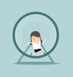 businesswoman running in a hamster wheel vector image