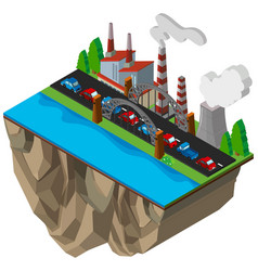 Cars on the road along the power plants vector