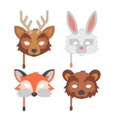 Cartoon animal party mask vector