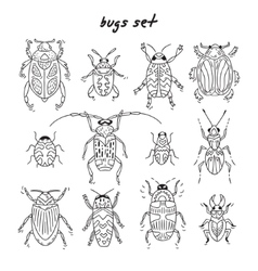 Cartoon bugs in set vector