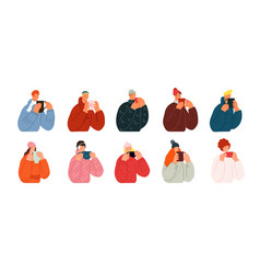 characters with hot drinks winter happiness vector image