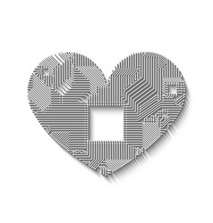 circuit board heart with long shadow vector image