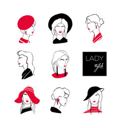 collection of heads or faces of stylish lady with vector image