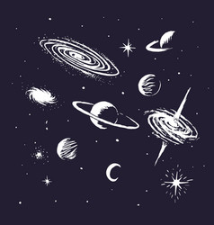 Collection of space objects vector