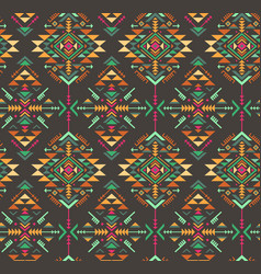 Colorful ethnic seamless pattern with geometric vector