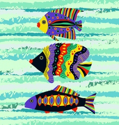 Colorful tropical fish swimming vector