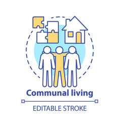 Communal living concept icon cohousing vector
