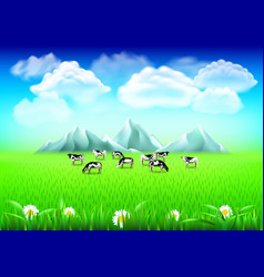 cows on green field realistic background vector image