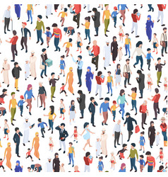 Crowd isometric various nationalities and ages vector