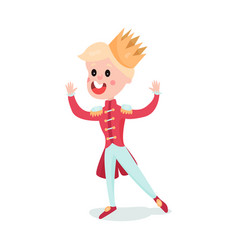 cute blonde cartoon boy character in prince vector image