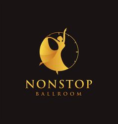 Dancing logo icon in a clock logo vector