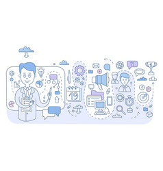 doodle style concept of project management modern vector image