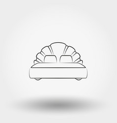 double bed line icon vector image