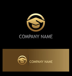 education graduation hat gold logo vector image