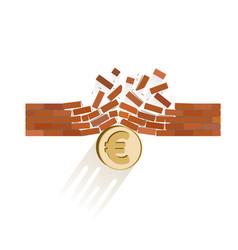 Euro coin breaks through the wall resistance vector