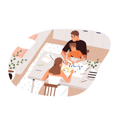 family drawing picture on paper flat vector image