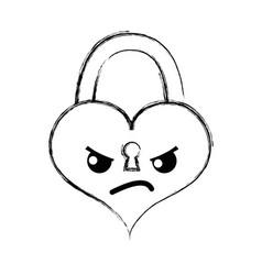 Figure angry heart padlock kawaii personage vector