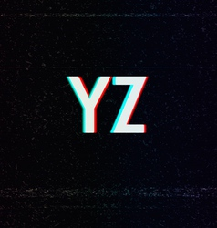 Font with TV Stereo Effect From Y to Z vector image