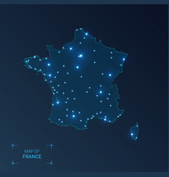 France map with cities luminous dots - neon vector
