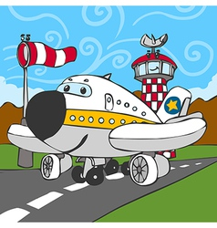 Funny Airplane on Airstrip and Control Tower vector