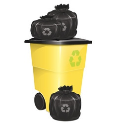 Garbage Container With Bag vector