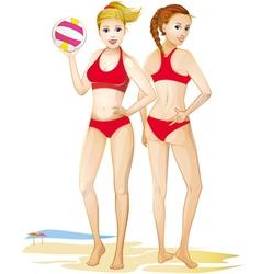 Girls volleyball team vector