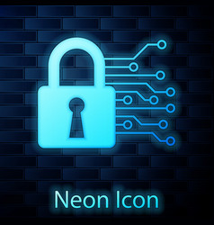 Glowing neon cyber security icon isolated on brick vector