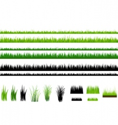 Grass collection isolated on white vector