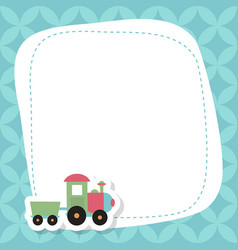 Greeting card with cute toy train greeting card vector