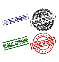 Grunge textured global epidemic stamp seals vector
