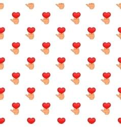 Hand holding heart pattern cartoon style vector