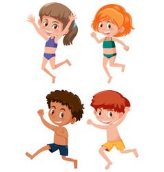 Happy kids waering swimwear vector