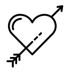 Heart arrow icon outline style vector